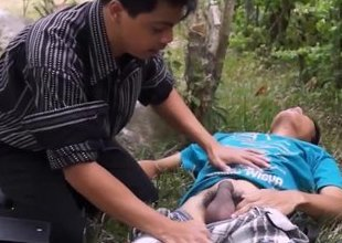 Asian doctor blows twink outdoor as greatest aid