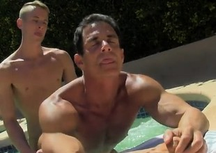 Gay porn Daddy Poolside Puncture Loving