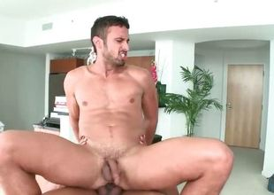 Muscled unconcerned stud Alex massage guy