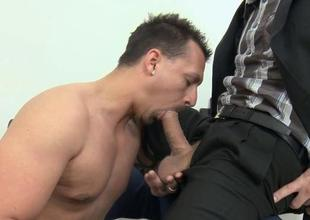 Cute man is delighting hunk with an arousing word-of-mouth