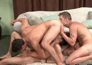 Super hot gay triune sex