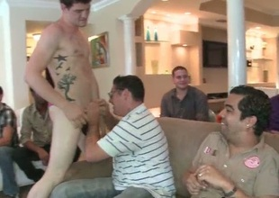 Group of horny man and one well-pleased cock