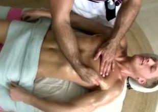 Merry masseur blows artless client