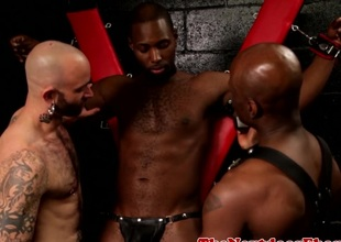 Buff ebony assfucking on every side interracial threeway