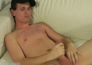 Horny urban British dude wanking