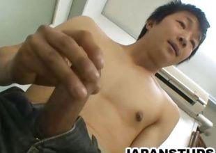 Stud Japanese jerking off
