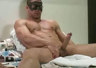 Super good looking merry hunk masturbating