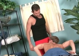 Married man sucks masseur cock