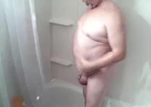 big balls grandpa get his shower