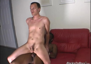 Shy white guy gets a Stygian cock near his ass