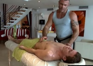 Gay massage rubs straight guy with oil