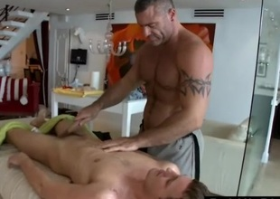 Straight gay gets massage with fake pussy