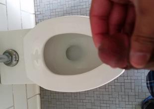 Focus on bathroom cumshot