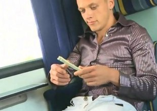 Dressy gay twink sucking in excess of a train