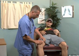Gay patient gets fucked by doctor with reference to rub-down the office