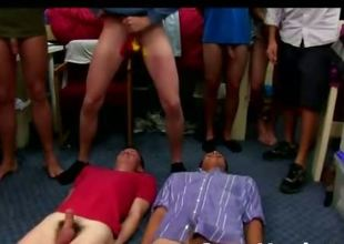 Immature honourable  guys in gay T bagging and suck  gay college initiation game