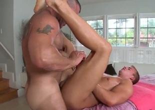 Pauper gets bone-tired gay massage