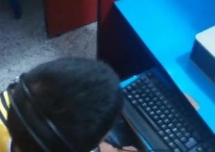 Str8 listen in boy agile his bulge in cyber cafe