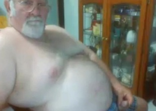 grandpa bear whip his cock on cam