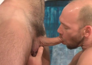 Twink gives blowjob with the addition of gets ass fucked