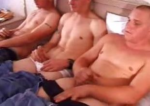 In this clip a five man army heatedly stroked their telling sticks. These twinkies are cute and throughout shot at a hot slim body that they throughout proudly show off at the end of one's tether taking off their clothes. Grooming yourselves in a double bed, they throughout mollycoddle their dicks with a g