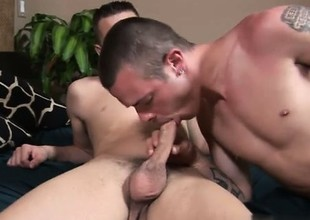 Hot gay Jamie reached in all directions coupled with commenced rubbing Jason's cadger