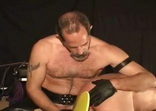 Horny nasty freakish cheerful guy gets tied
