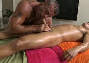Hunk receives lusty ass fucking during massage